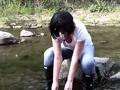 Jeans wife in the river