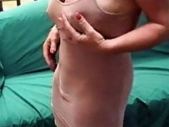 Mature with super huge big clit throught dress