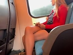 Sexy blond beautiful legs in the train