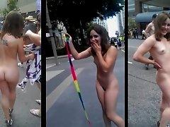 Toronto Pride Girl - Public Nudity - Supercut