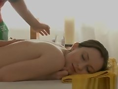 Massage babe fingered and toyed in pussy