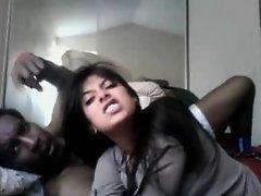Sexy Latin Babe & Dark Co Worker On Webcam