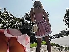 Golden-Haired on bus wearing pink strap upskirt