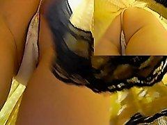 Beautiful upskirt thong of a skinny amateur babe