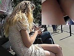 Blonde peach was caught in upskirt free video