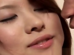 Asian babe in bald cunt gets tongue kissed in close-up