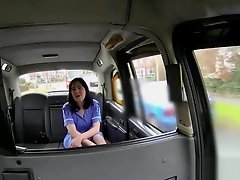 Bigtits nurse facialized in back of a cab