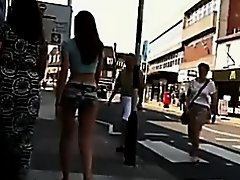 Consummate random cutie walking on the street in hawt shorts