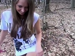 Youthful hotty led the class voyage in the forest and genotigt to fu...