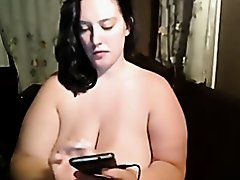BBW bitch fondling her huge amateur tits and beaver