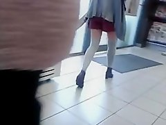 Thigh high socks, short skirt and heels