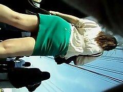 boso sexy babe in green skirt black panties upskirt