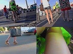Hot g-string shot of blonde's ass in upskirt video