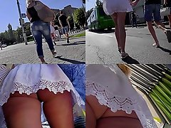 Upskirt vid of girl in tight skirt, wearing a g-string