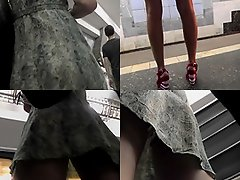 Skinny ass babe wears sexy g-string in upskirt video