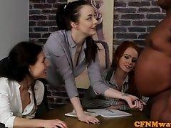 British CFNM babes tugging black mans cock