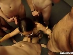 18yo gets blowbanged and showered before gangbang